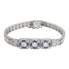 Art Deco Platinum Old European Cut Diamond & Sapphire Bracelet