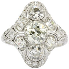 Art Deco Platinum Old European Cut Diamond Three-Stone Cluster Ring, circa 1920s