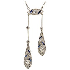 Art Deco Platinum Old Mine Natural Sapphires Necklace