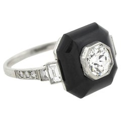 Art Deco Platinum Onyx and Diamond Ring 0.75ctw