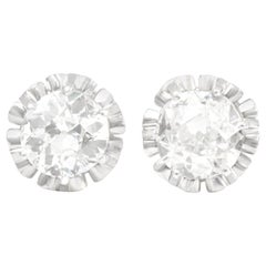 Art Deco Platinum over Gold Diamond Stud Earrings