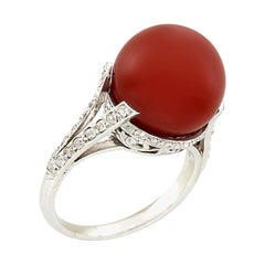 Art Deco Platinum Oxblood Coral and Diamond Ring