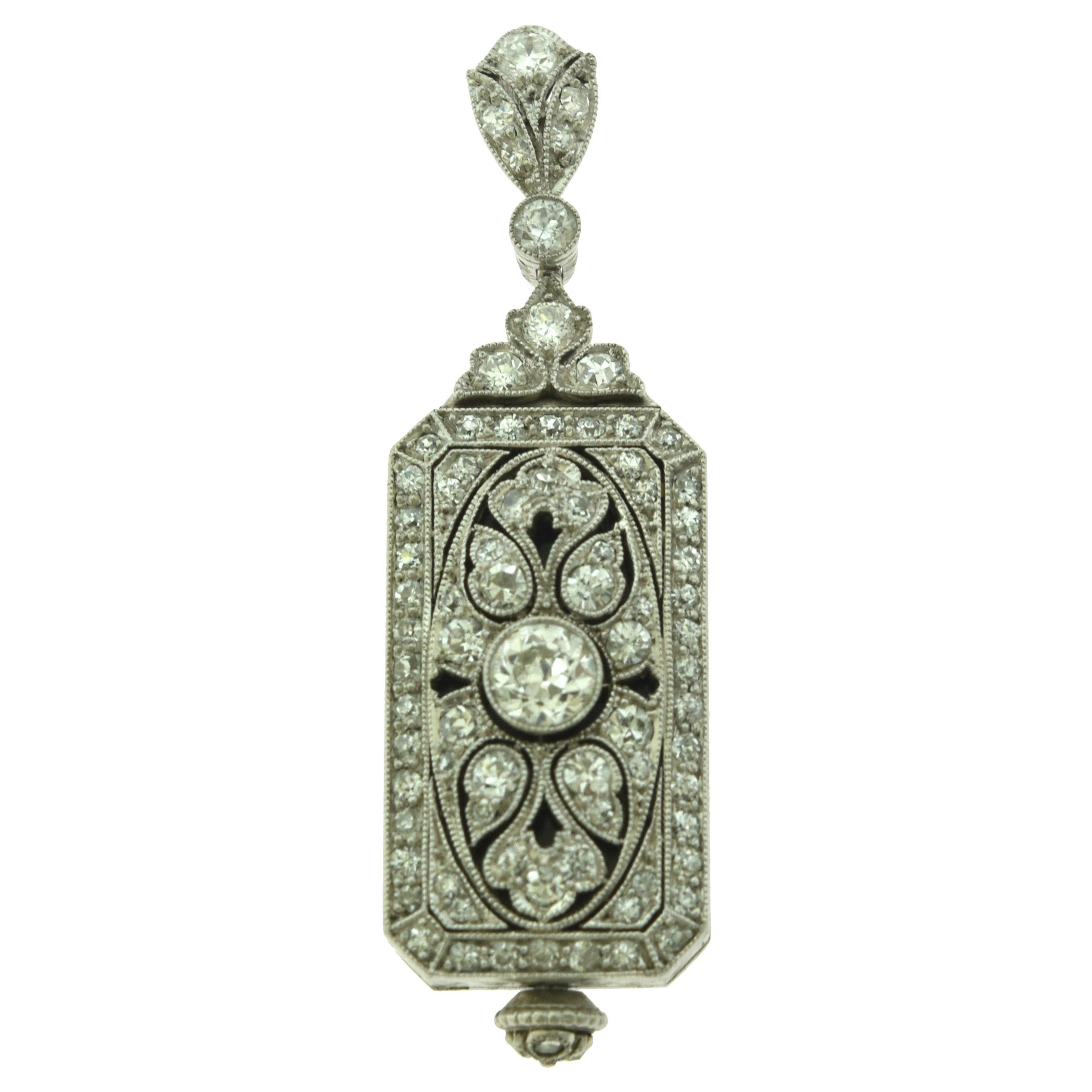 Art Deco Platinum Pendant/ Watch with Diamonds by J.E. Caldwell