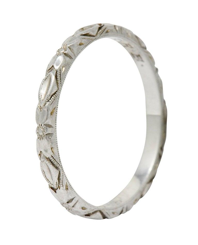 Art Deco Platinum Raised Flower Wedding Band Ring For Sale 6