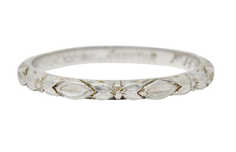 Art Deco Platinum Raised Flower Wedding Band Ring For Sale 7
