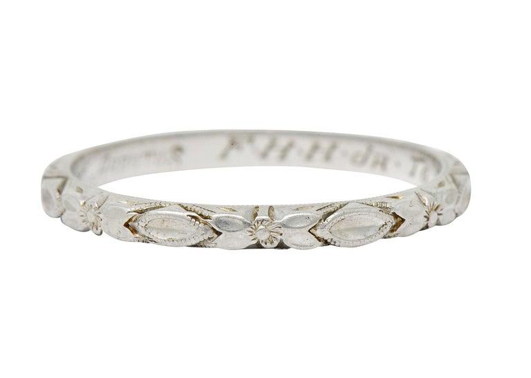 Women's or Men's Art Deco Platinum Raised Flower Wedding Band Ring For Sale