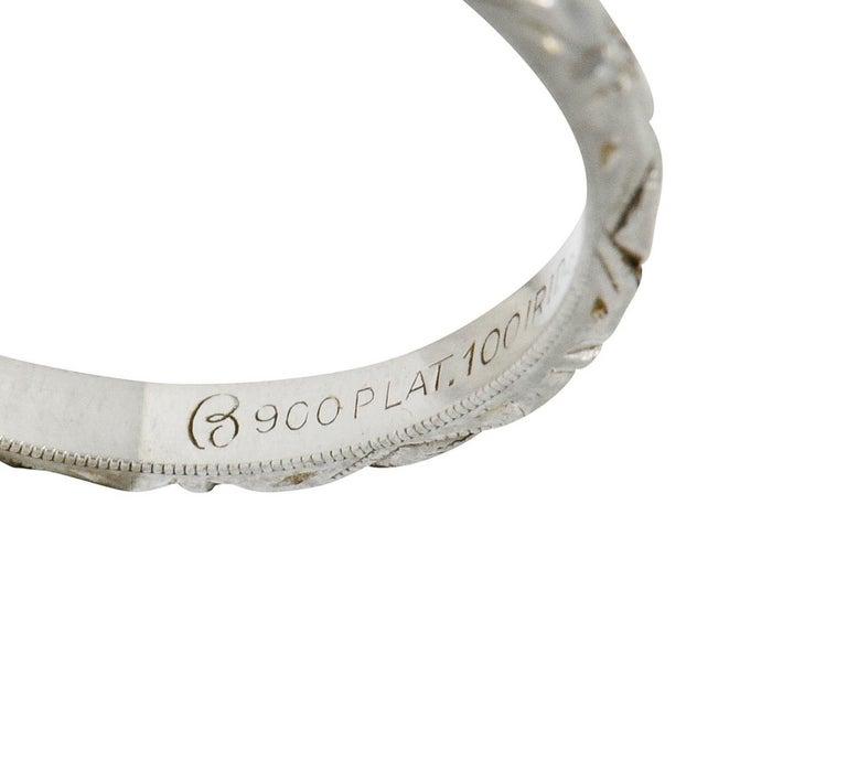 Art Deco Platinum Raised Flower Wedding Band Ring For Sale 1