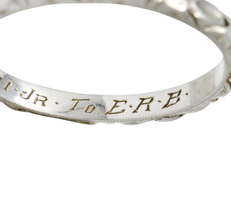 Art Deco Platinum Raised Flower Wedding Band Ring For Sale 5