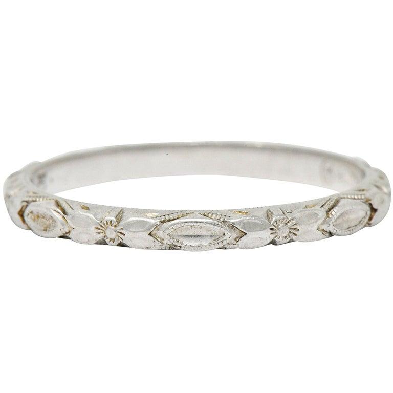 Art Deco Platinum Raised Flower Wedding Band Ring For Sale