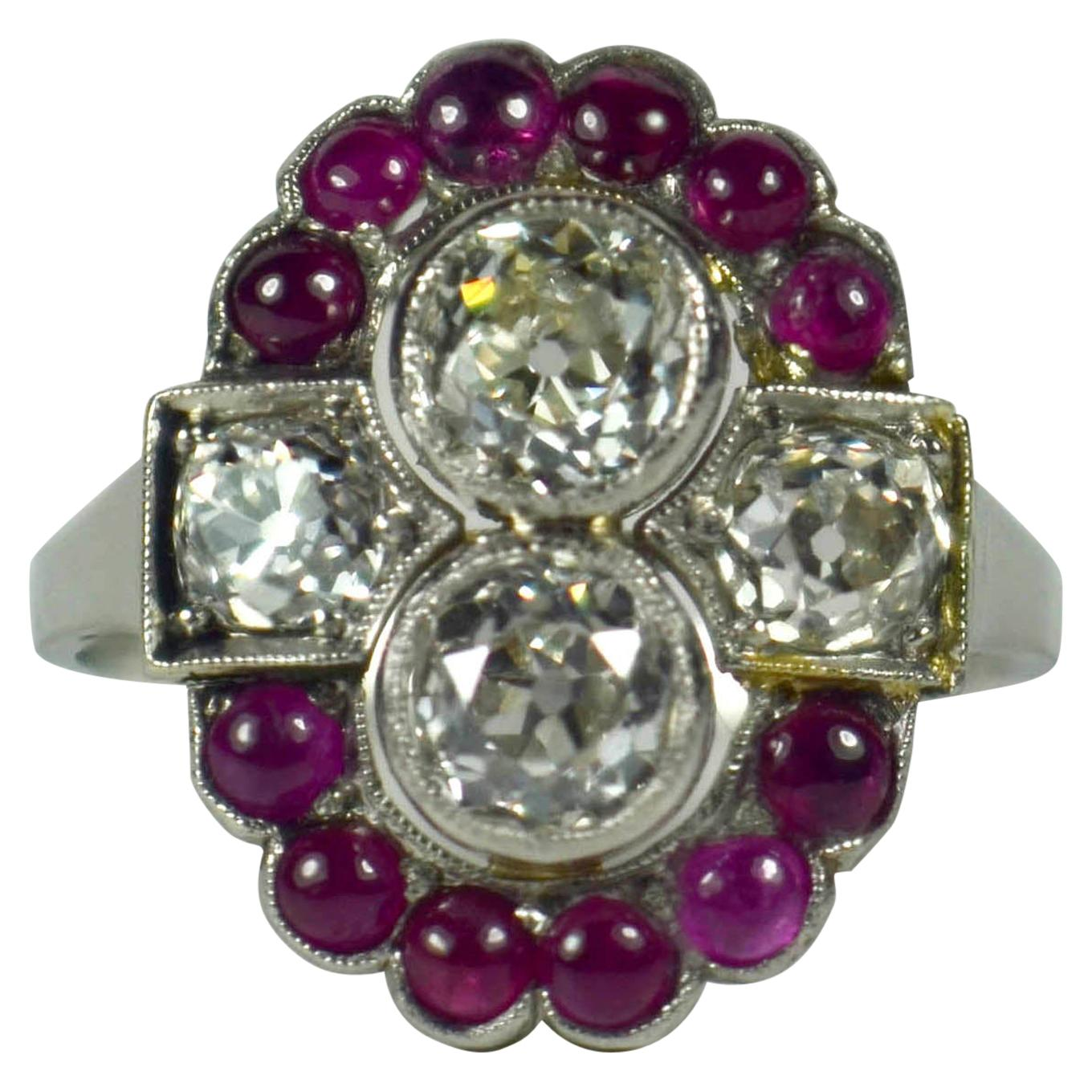 Art Deco Platinum Red Ruby White Diamond Ring