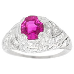 Art Deco Platinum Ring Set with 1.59 Carat No Heat Pink Burma Sapphire GIA
