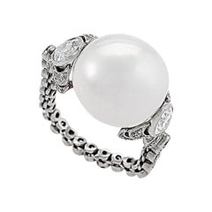 Art Deco Platinum Ring with a Baroque Pearl and Diamonds