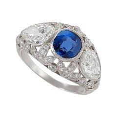 Art Deco Platinum Ring with Diamonds and Sapphire