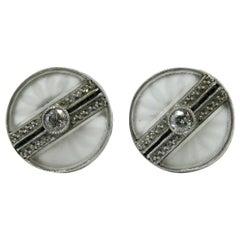 Art Deco Platinum Rock Crystal Diamond Black Onyx Earrings, circa 1910