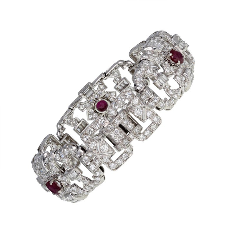 Round Cut Art Deco Platinum Ruby Diamond Bracelet For Sale