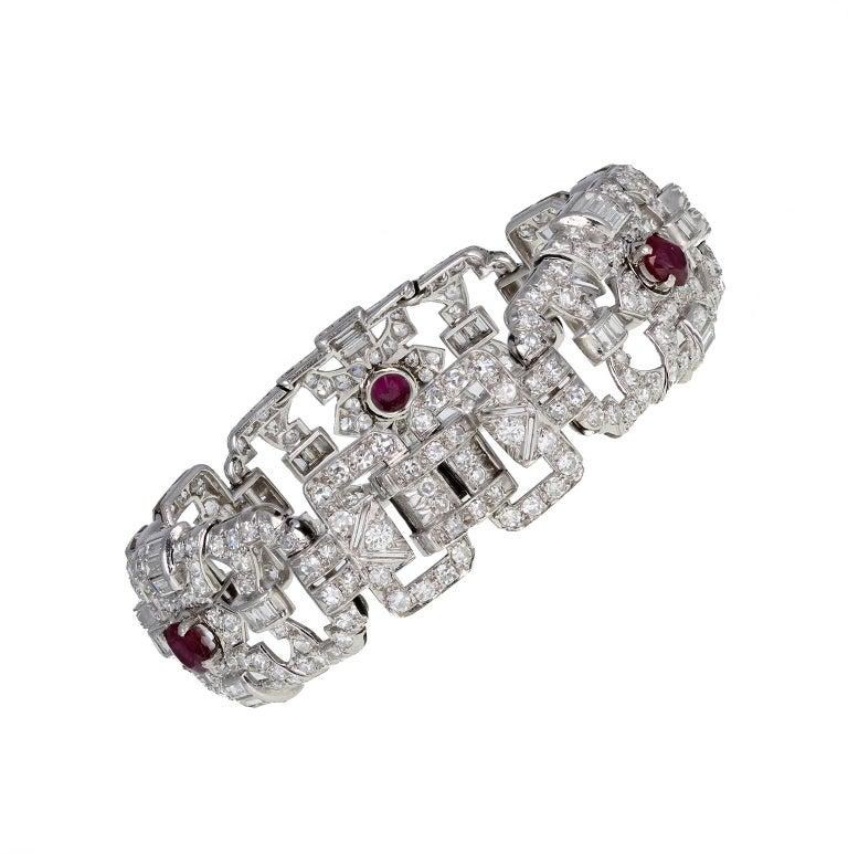Women's or Men's Art Deco Platinum Ruby Diamond Bracelet For Sale