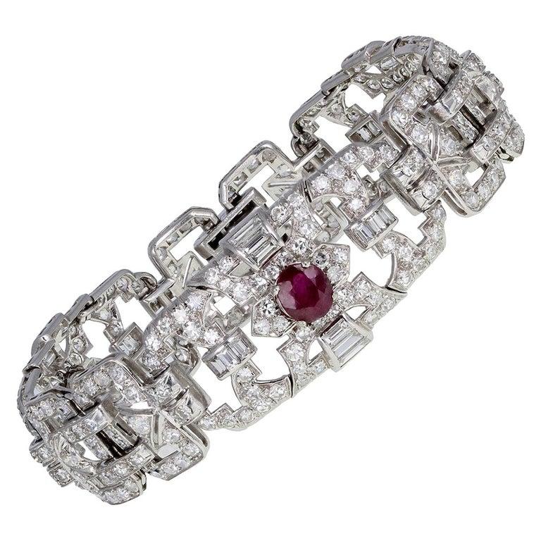 Art Deco Platinum Ruby Diamond Bracelet For Sale