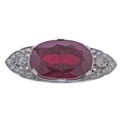 Art Deco Platinum Ruby Diamond Brooch
