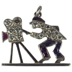 Art Deco Platinum Ruby Sapphire Diamond Hollywood Film Cameraman Charm Pendant