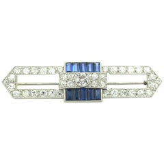 Art Deco Platinum Sapphire and Diamond Brooch