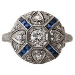 Art Deco Platinum Sapphire and Diamond Halo 'X' Ring with Etched Band