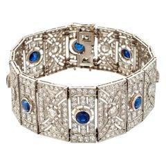 Art Deco Platinum Sapphire and Diamond Panel Bracelet
