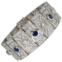 Art Deco Platinum Sapphire Diamond Bracelet