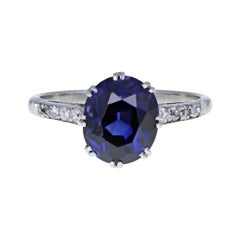 Art Deco Platinum Sapphire Solitaire Engagement Ring