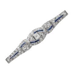 Art Deco Platinum Sapphire with Diamond Bracelet