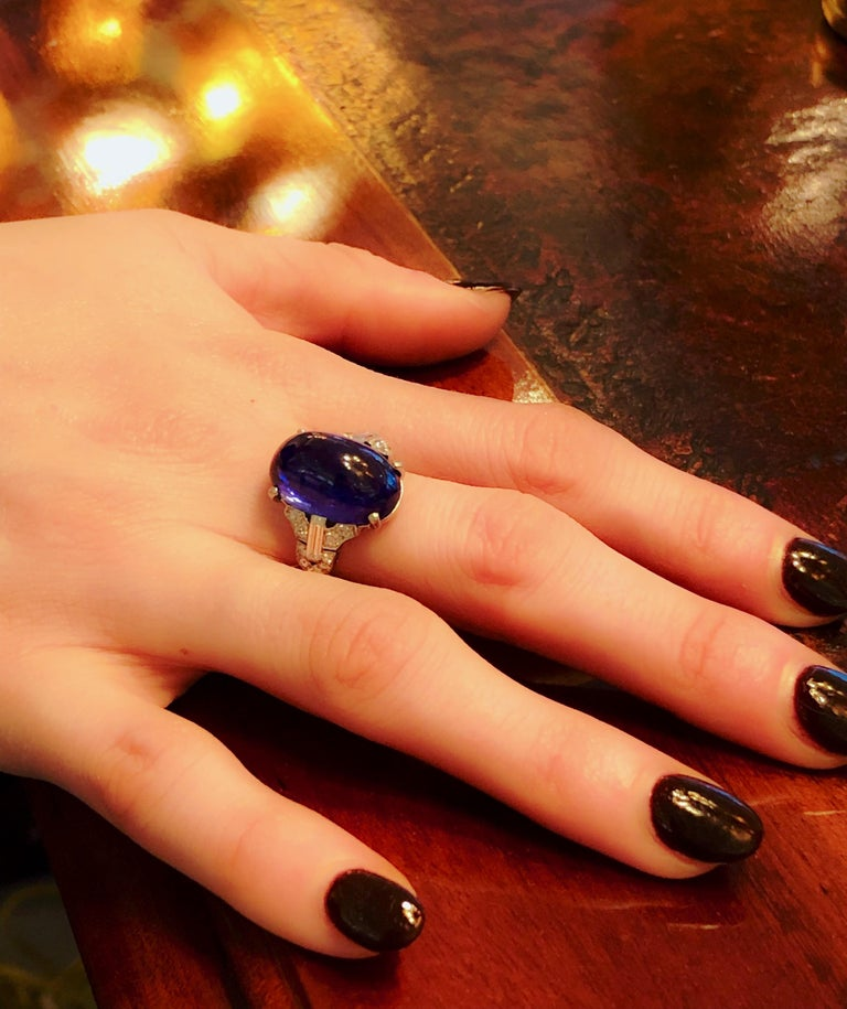 Women's Art Deco Platinum-Set Diamond and Sapphire Ring For Sale