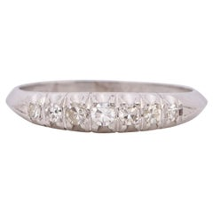 Art Deco Platinum Single Cut Diamond Band with a Fish Tale Style Setting