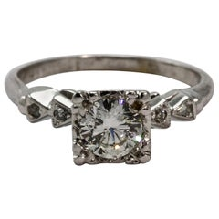 Art Deco Platinum Solitaire Diamond Engagement Ring