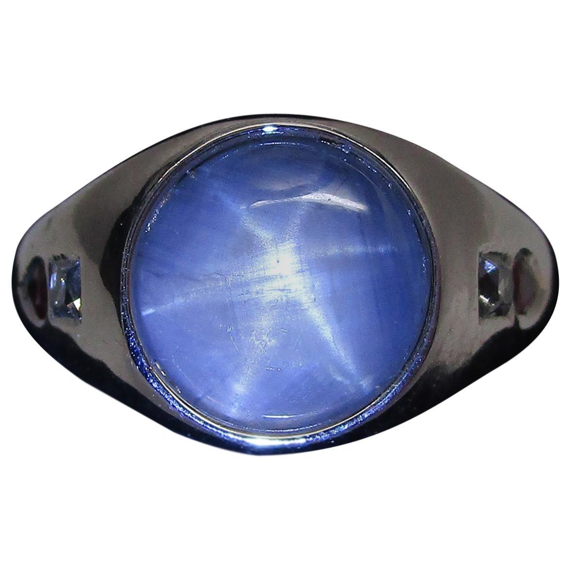 Art Deco Platinum Star Sapphire Ruby Diamond Ring
