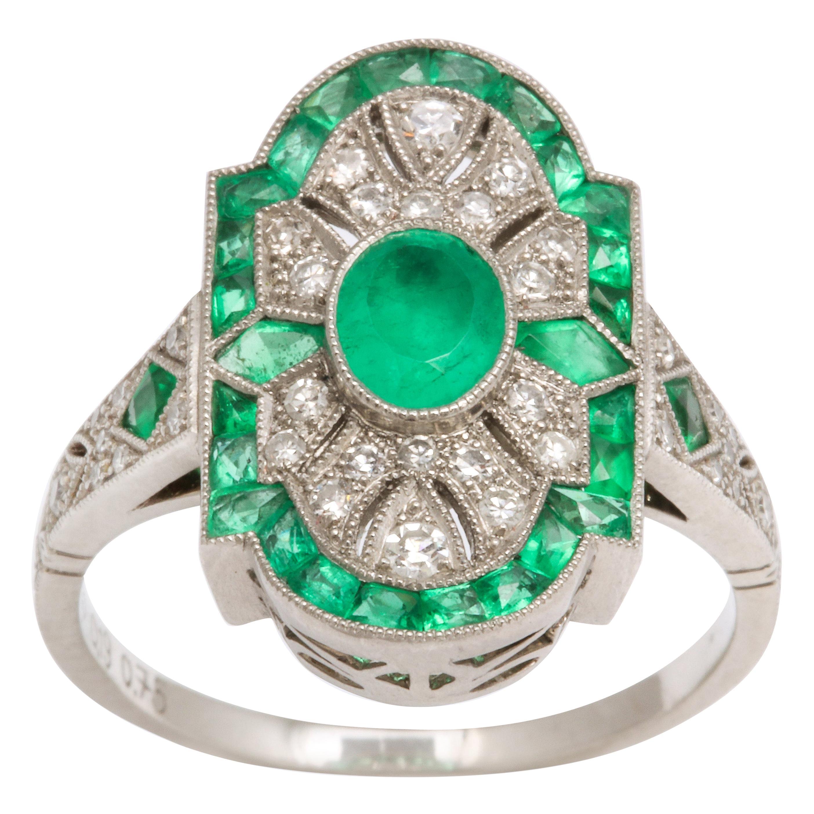 Art Deco Platinum Style Emerald and Diamond Ring