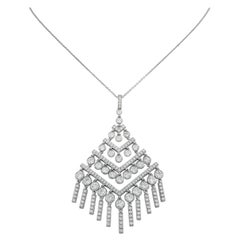 Art Deco Style Platinum Tiffany & Co. 3.69 Cttw Diamond Drop Pendant Necklace