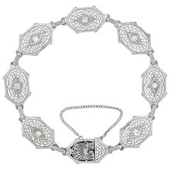 Art Deco Platinum-Topped 14 Karat Diamond Filigree Link Bracelet