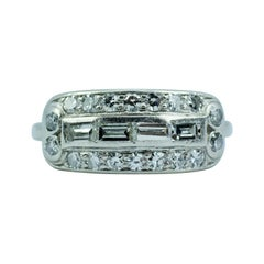Art Deco Platinum White Baguette Cut Diamonds and Round Single Cut Diamond Band
