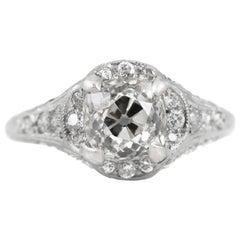 Art Deco 1.75 Carat Old Mine Cut Diamond Ring