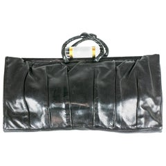 Art Deco Pleated Leather Clutch