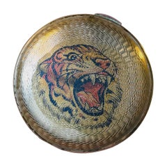 Art Deco Pocket Mirror with Tiger, Austria, circa 1940