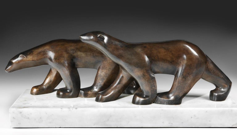 Mid-20th Century Art Deco Polar Bears bronze by Alexandre Zankoff, 1930 For Sale