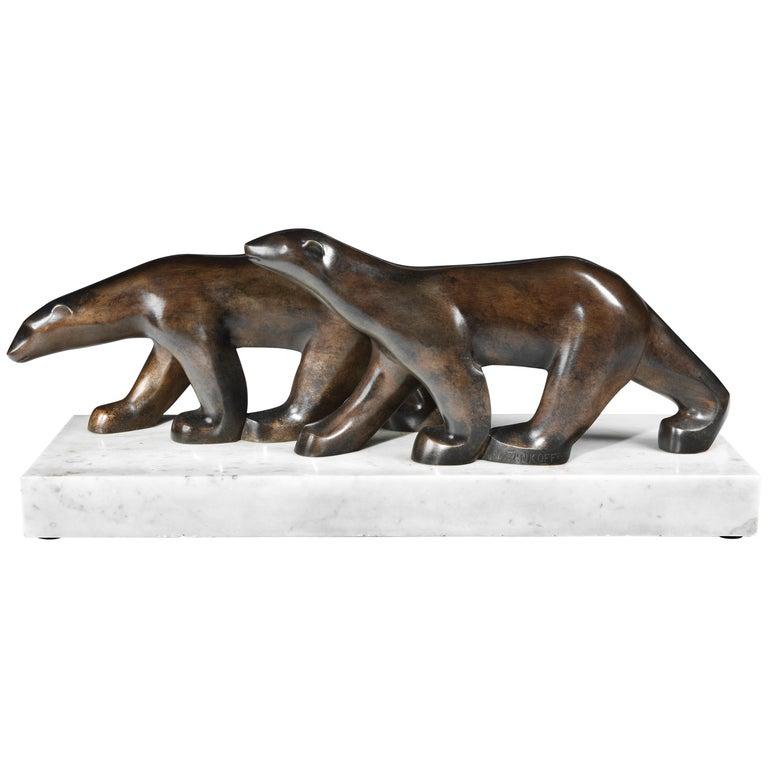 Art Deco Polar Bears bronze by Alexandre Zankoff, 1930 For Sale