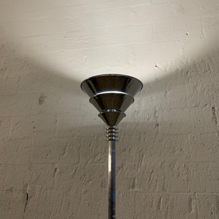Art Deco Polished Chrome over Steel Torchiere or Floor Lamp, Jean Perzel Style 7