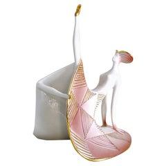 Art Déco Polychrome Ceramic Dancer from the 1930s