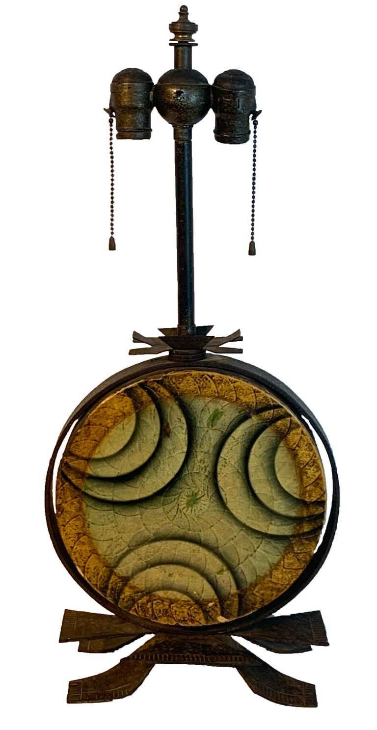 Art Deco polychromed lacquered & iron lamp, labelled Beardsley Studios Labeled Beardsley Studios Chicago, Ill. The lacquered drum measures 14
