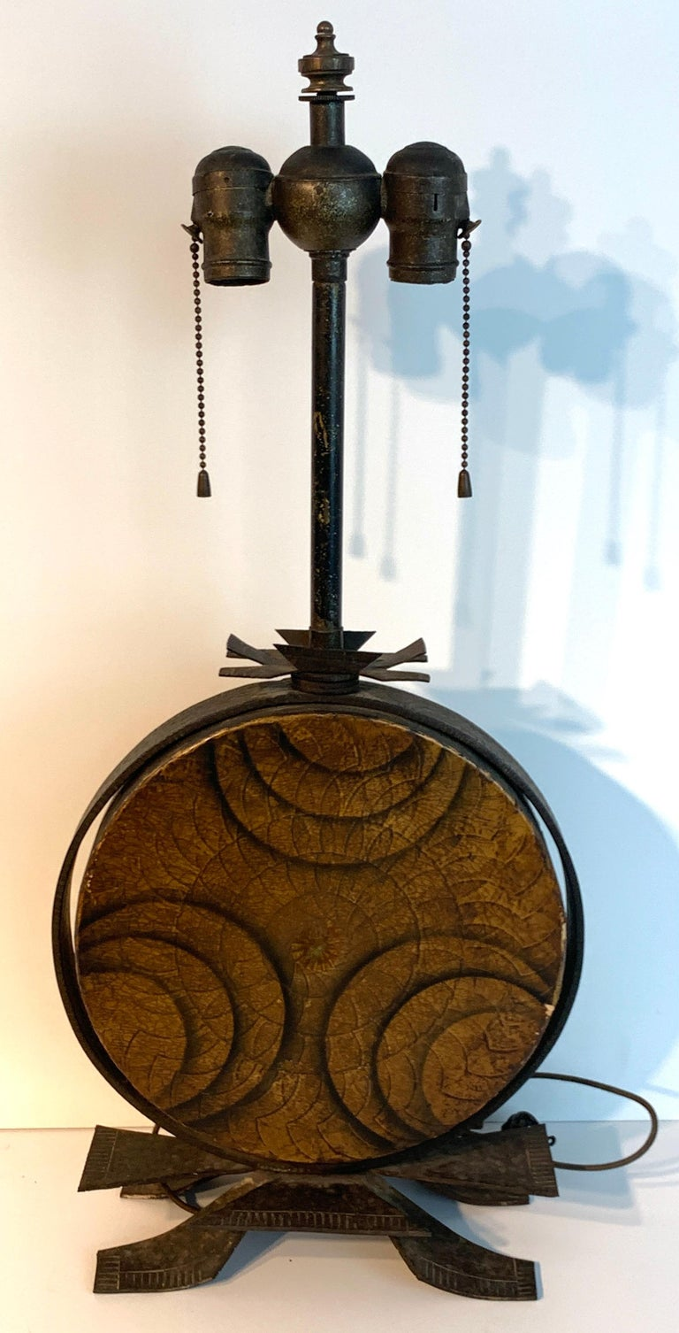 20th Century Art Deco Polychromed Lacquered & Iron Lamp, Labelled Beardsley Studios For Sale