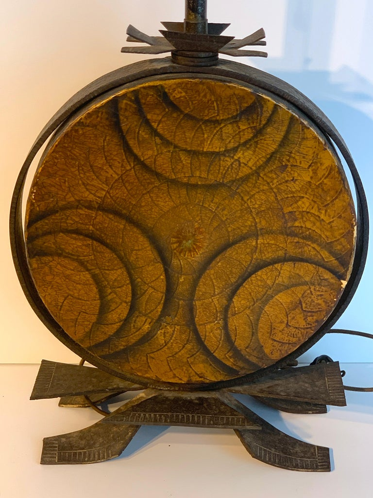 Wrought Iron Art Deco Polychromed Lacquered & Iron Lamp, Labelled Beardsley Studios For Sale