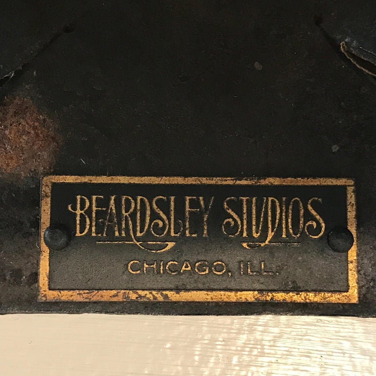 Art Deco Polychromed Lacquered & Iron Lamp, Labelled Beardsley Studios For Sale 2