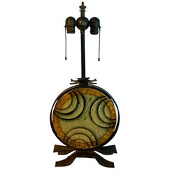 Art Deco Polychromed Lacquered & Iron Lamp, Labelled Beardsley Studios