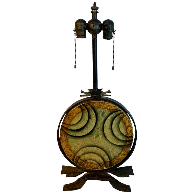 Art Deco Polychromed Lacquered & Iron Lamp, Labelled Beardsley Studios For Sale